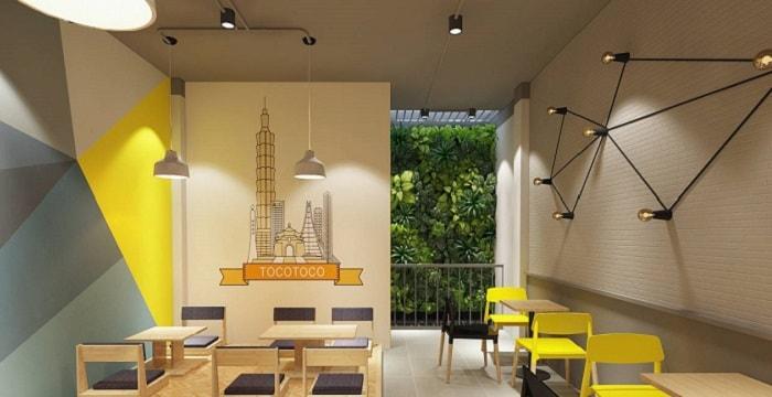 phối hợp màu sắc cho thiết kế quán trà sữa nhỏ