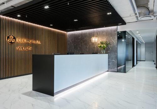 Thiết kế thi công nội thất quầy lễ tân cho văn phòng, công ty